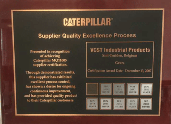 The Caterpillar Supplier Quality Excellence Process certification