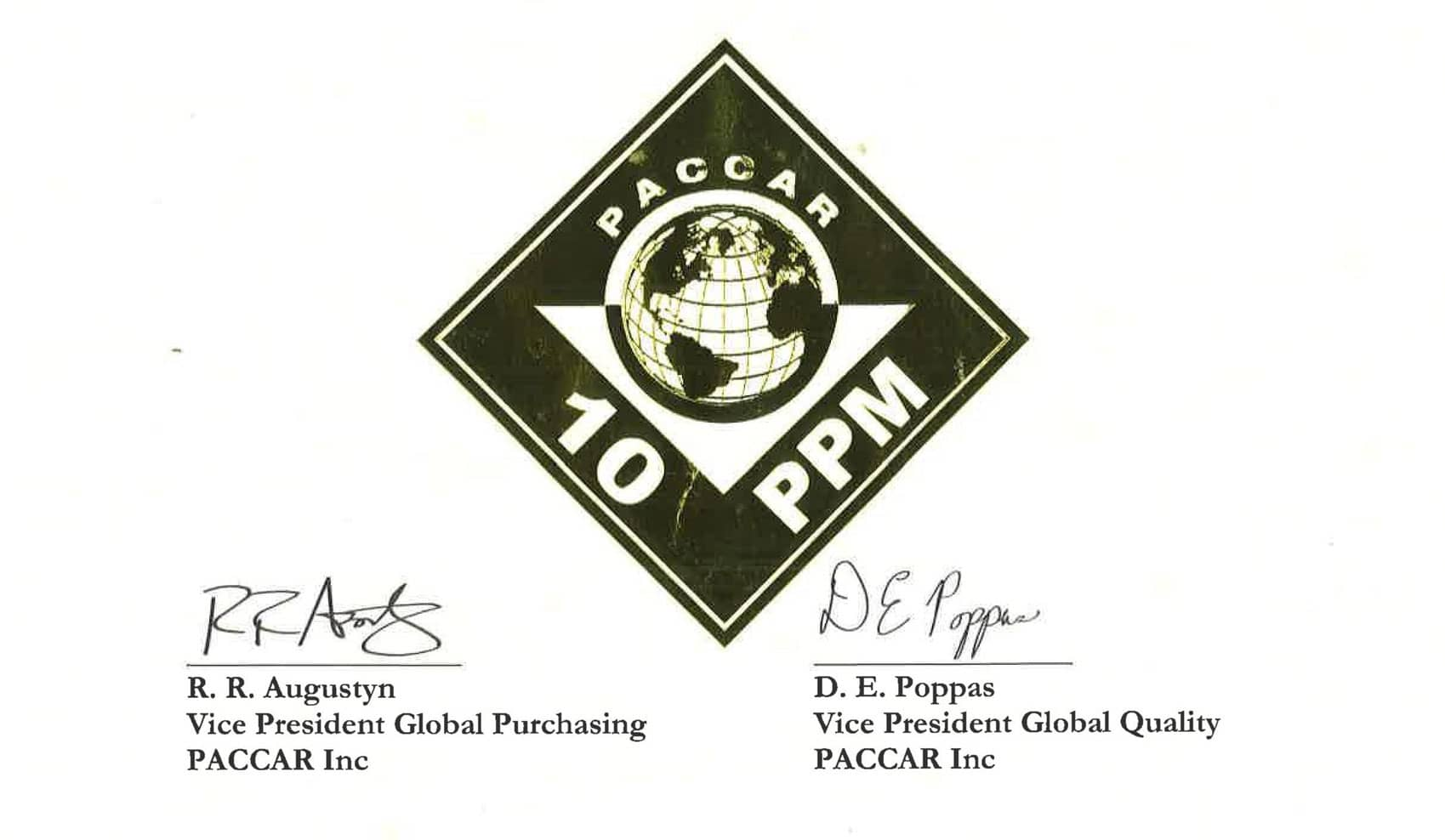 certificate for the PPM award by DAF:Paccar